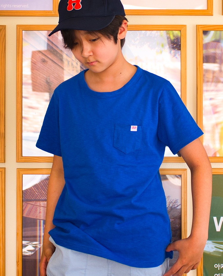SLUB JERSEY POCKET T SHIRTS - BLUE